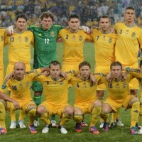 Ukraine's players pose before the start