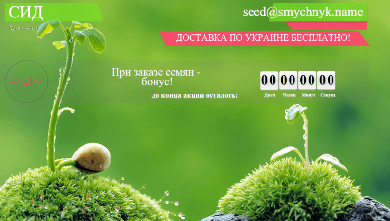 seed landing page