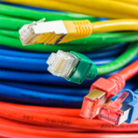 Colorful network cable with RJ45 connectors