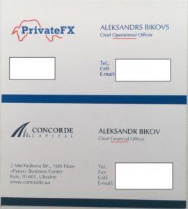 Візитка Олександра Бикова (PrivateFX, Concorde Capital)