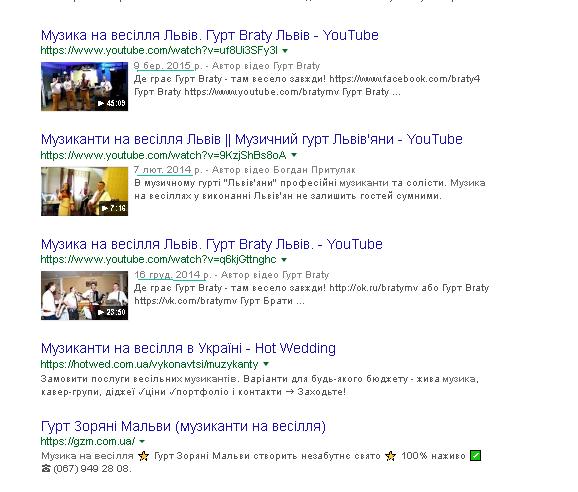 Скріншот видачі Google відеороликів з Youtube по запиту музиканти на весілля на кінець 2018 року